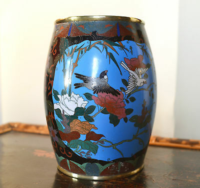Late Meiji cloisonne vase - Japanese antique enamel pot flowers birds