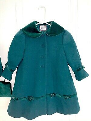 Vintage Rothschild Girl's Child Youth Size 4 Green Winter Wool Coat Jacket