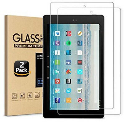 """2PC Genuine Tempered Glass Screen Protector For Amazon Kindle Fire HD 10"""" 2017"""