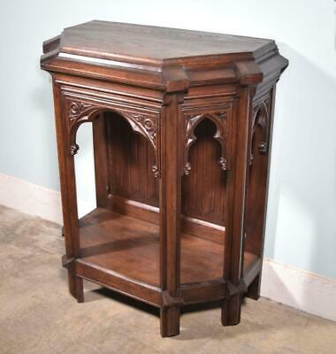 *Antique French Gothic Revival Side/End Table/Console/Stand in Solid Oak
