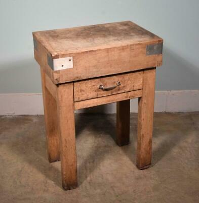 *Vintage French Butcher Block Table Island in Solid Maple Wood
