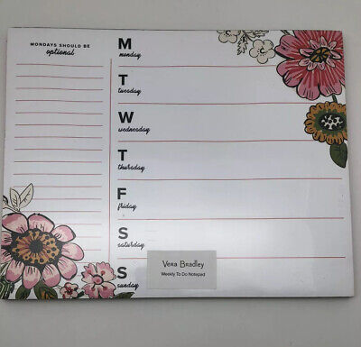 Vera Bradley Weekly To Do Notepad Coral Floral White