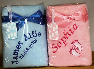Personalised Baby Pram Blanket With Embroidered Detail.