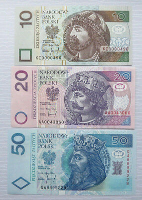 A Set of 3 Banknotes POLAND-1994 - 10^20^50 zlotych *UNC*