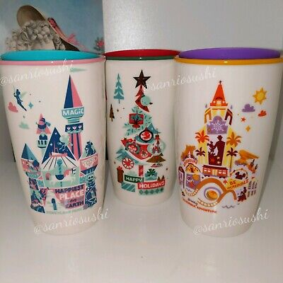 Starbucks Disneyland & Disney California Adventure Attractions Tumbler Mug Set.