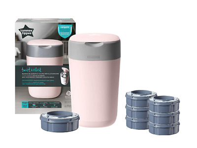 Tommee Tippee Twist and Click Sangenic Nappy Disposal Bin+6 extra refills - Pink