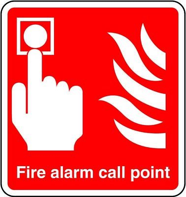 Fire Alarm Call Point Sticker Safety Sign Red 148 x 148mm Square