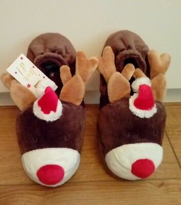 New Marks and Spencers Christmas Reindeer Slippers Size UK 4