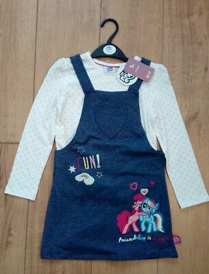 New My Little Pony Denim Look Pinafore Dress and Top Set Age 5/6 Years