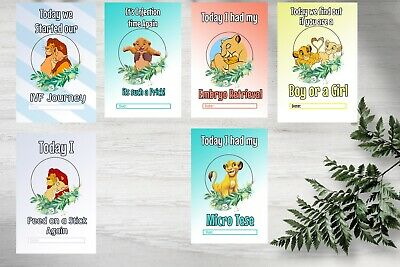 IVF Pregnancy Milestone Cards, Lion King, 36 Cards, 300gsm Card Stock