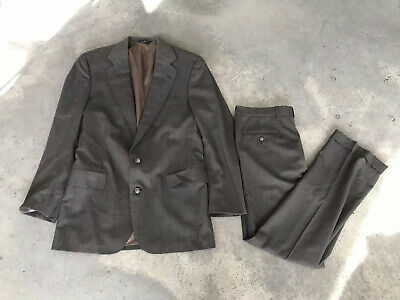Polo University Club Ralph Lauren Taupe Tweed Wool Mens (V) Suit 38R 38 R 32x31