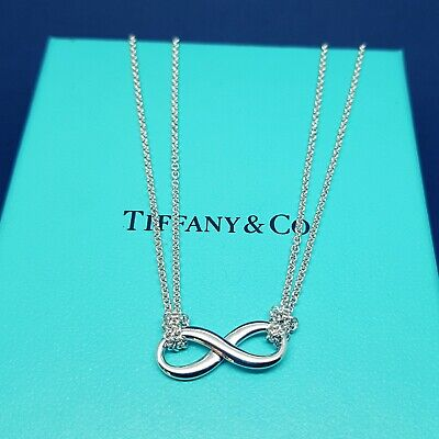 Tiffany & Co. Solid Sterling Silver Double Strand Infinity Pendant Necklace