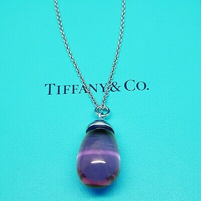 Tiffany & Co Sterling Silver Paloma Picasso Amethyst Pendant Necklace