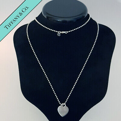 Tiffany & Co Solid Sterling Silver Blank Heart Charm 34 Inch Beaded Chain
