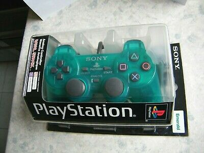 Boxed Official Sony Playstation 1 Ps1 Dual Shock Controller Green - Collectors