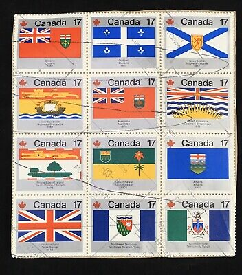 Used Canadian Full Set Province and Territories Flag Stamps Canada