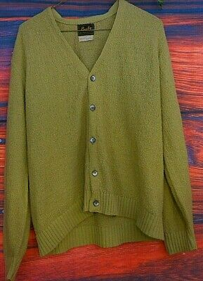Vintage Green Grunge Cardigan 60's Rugby Medium Mens Cobain acrylic thrashed