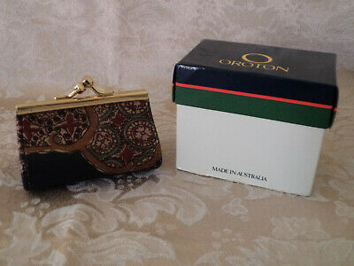 "Vintage Oroton Barrel Coin Purse ""Florentine"" Australian Made Leather W/Orig Box"