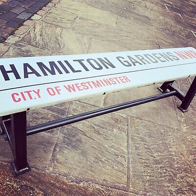 Superb Vintage / Retro Bench Made From an Original Enamel London Street Sign!