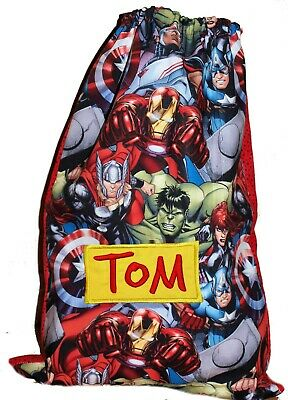Kids Personalised drawstring library bag -Avenger Smash -SMALL - First name FREE