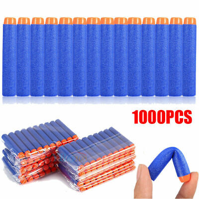 1000 Pcs Bullet Darts For NERF Kids Toy Gun N-Strike Round Head Blasters Blue US