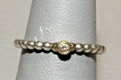 Evening Star Authentic PANDORA Sterling Silver Diamond 14k Gold Ring SZ 5.5