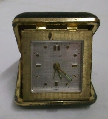 Old Travel Alarm Clock Europa Watch Mechanical 7 Jewels Brass Brown Case Clock