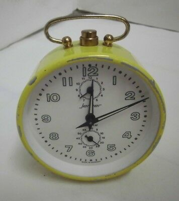 50er Years Alarm Clock Jerger Germany Mechanical Vintage Clock 50s