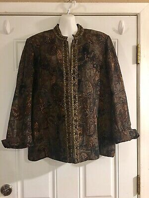 Chico's Womens Thanksgiving Tapestry Jacket Sz 3 Beading Sequins XL Blazer