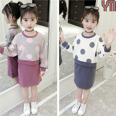 2Pcs Set Girls Hoodies + Pencil Skirts Dot Printed Tops Slit Skirt Sport Outfits