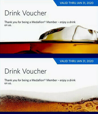 Delta Airlines Drink Voucher In Flight Coupon — valid until 01/31/20 No Shipping