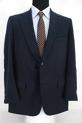 Brooks Brothers 3Roll2 Navy Blue Blazer Flannel Wool 1/2 Lined Center Vent 42L