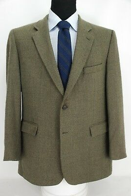 Brooks Brothers 2Btn Green Brown Weave Tweed Sport Coat Jacket Center Vent 43R
