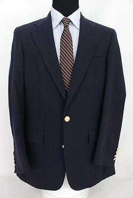 Tom James Investment Collection 2Btn Navy Blue Blazer Wool Center Vent 40L