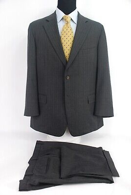 Paul Stuart 2Btn Gray Chalkstripe Suit Silky Powder 100% Wool Unlined 45L