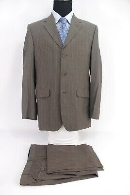 Banana Republic 3Btn 100% Cotton Suit Brown Tan Stripe Men's 42R
