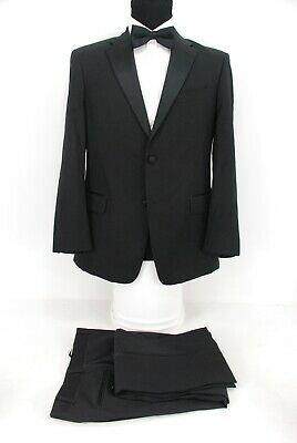 Tommy HIlfiger 2Btn Tuxedo Suit Black Wool Silk Lapels 40S
