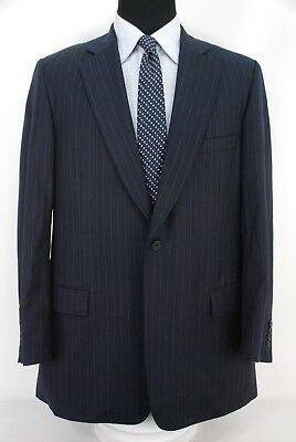 Paul Stuart 2Btn Suit Navy Blue Stripe 110's Wool Center Vent Men's 43L