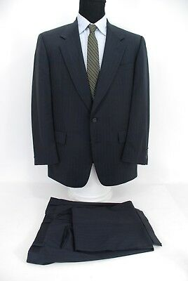Hart Schaffner Marx Gold Trumpeter 2Btn Men's Suit Navy Blue Stripe Wool 40R
