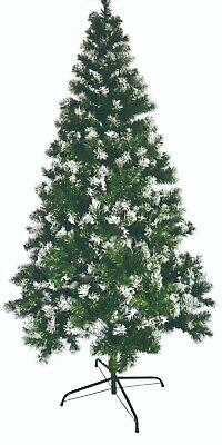 7FT Xmas Tree Artificial Christmas Snow Green Paint Metal Stand Decoration