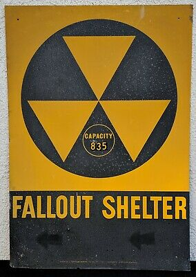 1960s Cold War Nuclear Radioactive Fallout Shelter DOD Sign