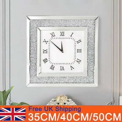 Square Crushed Crystal Mirror Jewel Wall Clock Roman Number Diamante Glass Clock