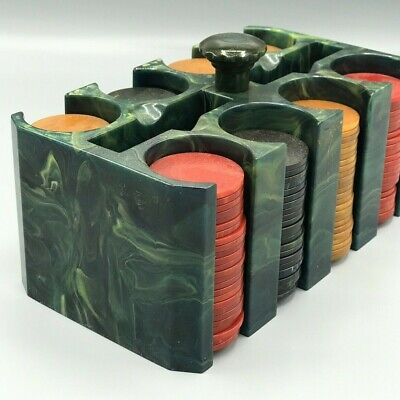 Blue Moon Bakelite Catalin Poker Chip Caddy Holder with Green Swirls