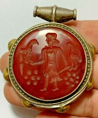 Ancient Greek Silver - Pendant - Goldplate - Carnelian Intaglio - Soldier- Eagle