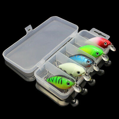 5Pcs Fishing Lures Kinds Of Minnow Fish Bass Tackle Hooks Bait Crankbait