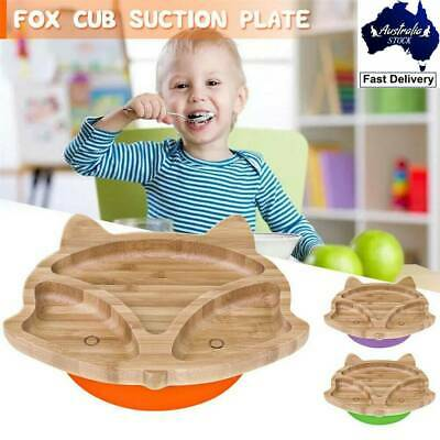 Baby Animal Fox Suction Plate Natural Bamboo Stay Put Cute Feeding Plate Bowl