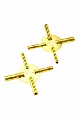 SE JT6336-2 Universal 4 Prong Brass Clock Key for Winding Clocks, Odd and Even N