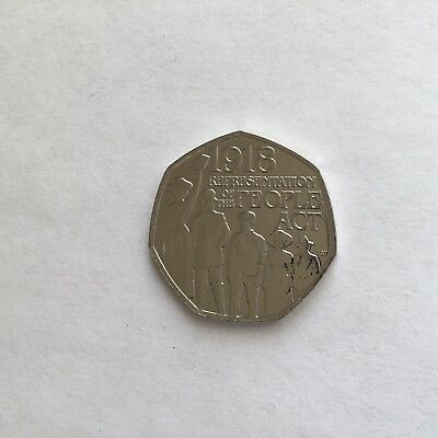 Representation Of The People Act 1918 50p Fifty Pence New Uncirculated 2018 Coin