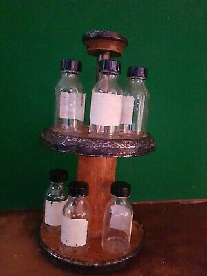 Wonderful Vintage Arts And Crafts Spice Rack And Bottles