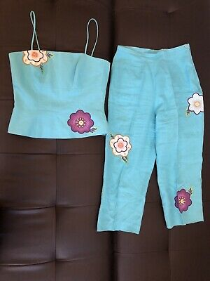 Rare Tina Taylor %100 Linen Blue Floral Coord Set Perfect Condition Size 8 Small